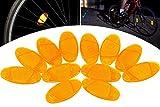 HENTEK 12 Stück Fahrrad Speichen Reflektoren Speichenstrahler Set Katzenaugen Strahler Orange Starker Reflektionsfunktion für Fahrrad Mountainbike Rennrad Sicherheit