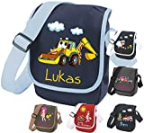 Kindergartentasche mit Namen & Wunsch-Motiv dunkelblau/hellblau