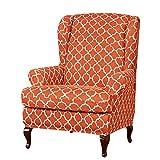 YUENA CARE Ohrensessel Husse Ohrensessel Schonbezüge mit Muster Elastisch Ohrenbackensessel Sesselbezug Bezug Überzug Orange