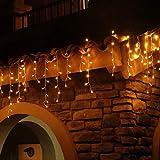 Eisregen Lichterkette Außen 600er LED 15m, LED Lichtervorhang mit Timer, IP44 wasserdicht 8 Modi für Innenausstattung Außenbereich Schlafzimmer Hochzeit Weihnachten Party (Warmweiß)