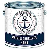 Metallschutzlack 3in1 SEIDENMATT Schwarz RAL 9005 Metallschutzfarbe 3-in-1 Grundierung, Rostschutz und Deckanstrich in Einem Metalllack Metallfarbe // Hamburger Lack-Profi (2,5 L)