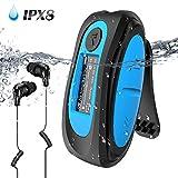 IPX8 Wasserdicht MP3 Player, 8GB HiFi MP3 Musik Player zum Schwimmen und Laufen, mit wasserdicht Kopfhörer, Audiokabel und 3 Paar Ohrstöpsel (L/M/S), unterstützt FM, Shuffle Funktion, Blau