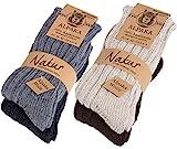 4 Paar dicke flauschige warme Alpaka Socken [100% AlpDick35-38]