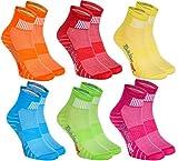 Rainbow Socks - Damen Herren Bunte Baumwolle Sport Socken - 6 Paar - Orange Rot Gelb Grün Meer Grün - Größen 42-43