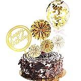 Alles Gute zum Geburtstag Kuchen Topper Satz Papier Ventilator Konfetti Ballon Acryl Cupcake Topper für Geburtstag Torte Dekoration (Golden)