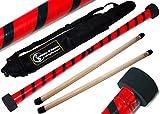 TWIST Devilstick (Rot/Schwarz) inkl. Holz Handstäbe mit 2 mm Silikonmantel + Reisetasche! Flames N Games Devil stick Set Für Kinder und Erwachsene.