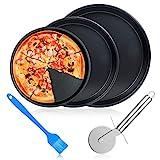 ceuao Back-Pizzablech, 3er Set, rund Pizzabackblech, antihaft, Pizza & Flammkuchen, Carbonstahl, Knusperblech, ∅ 26 cm,∅ 23 cm,∅ 21 cm