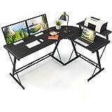 COSYLAND L-förmiger Schreibtisch Computertisch Eckschreibtisch Arbeitstisch mit großem Monitorständer 3-teilig Home Büro Tisch Übergroße Einfach zu montieren