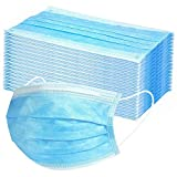 50 Stück Mundschutz Masken Mund-Nasen-Schutz Staubmasken mit Ohrenschlaufe, Blau Einweg Vlies Atemschutz Hygienemaske Gesichtsmaske 3 lagig gegen Verschmutzungen Staub (50 Stück)