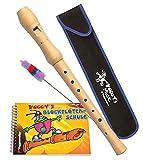 Voggy's Blockflöten-Set (dt. GW): Ahornflöte, Tasche, Wischer + Buch im Karton