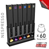 Tavola Swiss 5049031 Kapselspender Box für 60 Nespresso-Kapseln, Kunststoff, schwarz, 25x15x7 cm