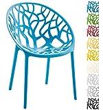 CLP Gartenstuhl Hope aus Kunststoff I Wetterbeständiger Stapelstuhl mit Einer max. Belastbarkeit von 150 kg I erhältlich, Farbe:blau