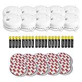 AngelEye 10er Set Rauchmelder - Brandmelder/Feuermelder inkl. Magnethalterung DIN EN14604, Weiß