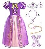 ReliBeauty Mädchen Kleid Puffärmel Prinzessin Rapunzel Kostüm Kinder, lila, mit Zubehör, 110