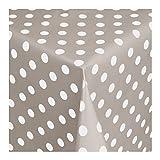 WACHSTUCH Tischdecken Wachstischdecke Gartentischdecke, Abwaschbar Meterware, Länge wählbar, Punkte Grau Weiß (150-07) 110cm x 140cm