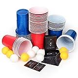 AOLUXLM [50+10+Kartenspiel] Trinkbecher Partybecher mit Trinkspiel Karten 480ml/16OZ Bier Pong Cups Party Becher Red Cups Rote Beer