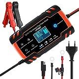URAQT Ladegerät Autobatterie, 8A 12V/24V KFZ Batterieladegerät Auto mit LCD-Touchscreen, Batterie Vollautomatisches Intelligentes Erhaltungsladegerät für Auto, Motorrad, Rasenmäher oder Boot (#1)