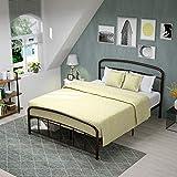 mecor Modern Metallbett Bettgestell mit geschwungenes Kopfteil Doppelbett 140 x 200 cm Bettrahmen mit Lattenrost für Gästezimmer Schlafzimmer Bett In Braun