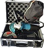 Makita GA5030RSP1 Winkelschleifer 125 mm im Koffer inklusiv Zubehör 720 W, 230 V, türkisschwarz, zuzügl Alu-Transportkoffer