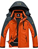 GEMYSE wasserdichte Skijacke für Herren Winddichte Fleece Outdoor-Winterjacke mit Kapuze (Orange Grau,L)