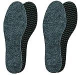 Lenzen 2 Paar rutschfeste Filzeinlegesohlen schützen vor Kälte im Winter I Extra dicke und isolierende Filzsohlen mit Aktivkohle für warme Füße (43)