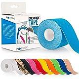 Proworks Kinesiologie Tape [5cm x 5m Rollenlänge] Tape für Muskeln und Gelenke [Wasserfest] für Training, Physiotherapie und Schmerztherapie Hellblau