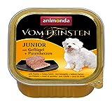 animonda Vom Feinsten Hundefutter Junior, Nassfutter für Hunde im Wachstum, Geflügel + Putenherzen, 22 x 150 g