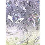 Zindoo 3D ohne Klebstoff Fensterfolie Dekorfolie Sichtschutzfolie Blumen Entwurf Privatsphäre Schutz Fenster Folie für Heim Kueche Buero 45 * 200CM