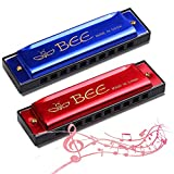 Mundharmonika,2 Stück Kinder Mundharmonika -10 Löcher mundharmonika Diatonisch - Mundharmonika C-Dur Major Blues Harmonika, für Anfänger/Profis mit Etui(Blau und Rot)