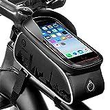 Yolispa Fahrradrahmen-Tasche, Fahrrad-Tasche, wasserdicht, Fahrrad-Rahmen, Lenkertasche, große Kapazität, mit Touchscreen-Handyhülle, passend für iPhone/Huawei/Samsung etc.
