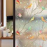 Lifetree Glasmalerei Fensterfolie Sichtschuzfolie Dekofolie Privatsphäre Milchglasfolie Statisch Haftend Vogel Fensteraufkleber 45 * 200 cm
