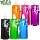 480ML Faltbare Wasserflaschen Set,Sinwind Unisex Adult Faltbare Wasserflaschen Set von 6 Flexible zusammenklappbare Wiederverwendbare Wasser-Flaschen Trinkbeutel für das Wandern, Abenteuer, das Reisen