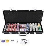 Hengda Pokerkoffer 500 Chips Laser Pokerchips Poker 11.5 Gramm , 2 Karten, Händler, Small Blind, Big Blind Tasten und 5 Würfel, mit Aluminium-Gehäuse Schwarz Koffer