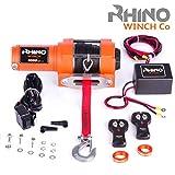 Rhino Elektrische Seilwinde 12V mit Fernbedienung und Mobilteil, Kunststoffseil/Synthetikseil - 3000lb/1360kg