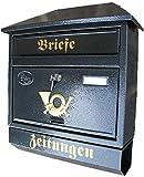 Naturholz-Schreinermeister Großer Briefkasten/Postkasten XXL Anthrazit mit Zeitungsrolle und Montagematerial Zeitungsfach Schrägdach Trapezdach Wandbriefkasten