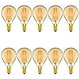 Atesny Dimmbar E14 LED Vintage Lampe,G45 LED Filament Tropfen Glühlampen 4W,300LM,Braunglas,Warmweiß 2700K,10 Stück