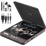 Tragbarer CD Player, 1000 mAhPersönlicher Wiederaufladbar MP3 CD Player mit Doppelte 3.5mm Kopfhörern Buchse Disc Walkman mit stoßfester Schutz Für Kinder & Erwachsene (Brown)