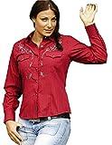 STARS & STRIPES Streifenbluse Bonnie - Westernwear-Shop Edition Damen Westernhemd Westernkleidung Westernshirt Westernoberteil Westernoutfit für Frauen (XX-Large) Rot