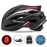 VICTGOAL Fahrradhelm Herren Damen MTB Mountainbike Helm mit Visier Abnehmbarer Sonnenschutzkappe und LED licht Radhelm Fahrradhelme für Erwachsenen 57-61 cm (Schwarz Rot)