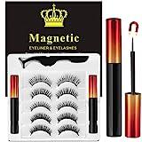 Magnetische Wimpern mit Eyeliner - Magnetischer Eyeliner und Magnet Wimpern Kit -Natürlich Schöne Wimpern - mit Pinzette - Kein Kleber Erforderlich [5 Paare]