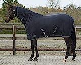 QHP Fleecedecke Abschwitzdecke Basic mit Halsteil Kreuzgurte blau + schwarz (145 cm, Schwarz)