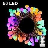 Nasharia 50 LED Kugeln Lichterkette Batteriebetrieben 5 Meter Stimmungslichter IP65 Wasserdicht Außenbeleuchtung und Innenbeleuchtung Sternlicht für Weihnachten, Hochzeit, Party, Ferien (Farbe)