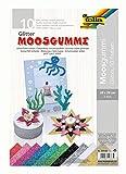folia 239109 - Moosgummi Glitter, 2 mm, ca. 20 x 29 cm, 10 Bögen, sortiert in 10 Glitzerfarben, nicht selbstklebend, ideal für vielseitige Bastelarbeiten