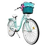 Milord. Komfort Fahrrad mit Korb, Hollandrad, Damenfahrrad, 1-Gang, Aqua Blau, 28 Zoll