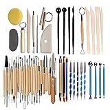 Werkzeuge Ton, Töpferwerkzeuge Modellierwerkzeug aus Holz Ton Töpferei Schnitzwerkzeug für Steinmalerei, Töpferei, Modellierung, Prägung, Nagelkunst, DIY(51)