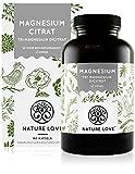 NATURE LOVE® Premium Magnesiumcitrat - 2250mg (360mg elementar) Magensium je Tagesdosis - 180 Kapseln - Hochdosiert, laborgeprüft, ohne Zusätze, vegan & in Deutschland produziert