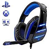 Beexcellent Gaming Headset für PS4, Surround Bass Sound Professional Kopfhörer mit Mikrofon LED Licht für Xbox One PC Laptop Mac Tablet