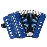 Kiddire Akkordeon Kinder 10 Tasten Ziehharmonika Musikinstrument Spielzeug für Kinder, Blau