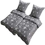 Leonado Vicenti Bettwäsche 135x200 oder 155x220 4teilig Mikrofaser Sterne Grau Galaxy mit Reißverschluss (Sterne Grau, 155 x 220 cm)