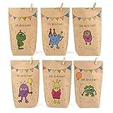 ewtshop® Monstertüten, 12 Geschenktüten mit 6 verschiedenen süßen Monstermotiven für Mitgebsel, Geschenke, Kindergeburtstage und vieles mehr